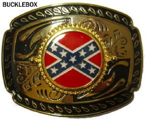 Confederate Flag Belt Buckle + display stand. Code XK1